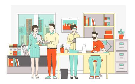 personas trabajando: Las personas que trabajan juntos en el concepto de la oficina, trabajo en equipo, la cooperación y la creatividad, caracteres de líneas finas y objetos