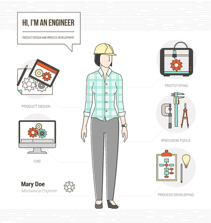 mechanical engineer: Professional female mechanical engineer infographic skills resume with tools, equipment and icons set Illustration