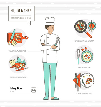 cooking chef: Professional chef infographic resume and skill and thin line female character