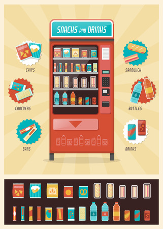food and beverages: Vintage vending machine advertisement poster with snacks and drinks packaging set