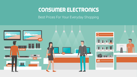 Sklep elektroniczny baner z telefonów komórkowych, laptopów, TV i sprzętem audio na półkach i wyświetlaczy, klientów kupujących produkty i sprzedawca