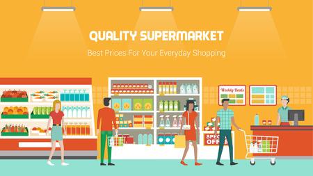 supermercado: Compras de la gente en el supermercado y compra de productos, congelador, estantes y operador de pago y envío en el trabajo, de comestibles y el concepto de consumo