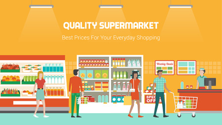 People shopping at supermarket and buying products, freezer, shelves and checkout operator at work, grocery and consumerism concept