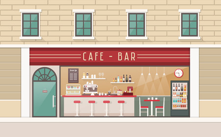 drink coffee: Coffee shop and snack bar interior view with counter, stools, table and freezer