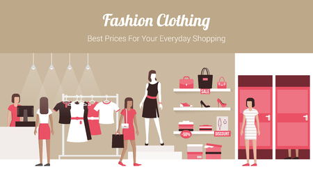 fitting: Fashion clothing store banner with shop interior, clothing on hangers and shelves, fitting rooms and customers buying products Illustration