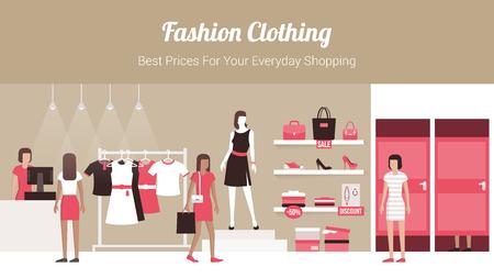 Mode kledingwinkel banner met winkel interieur, kleding op hangers en planken, paskamers en klanten kopen van producten