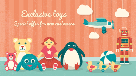 Cute vintage toys on the floor and plane hanging, kids products sale banner