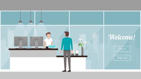 recepcionista: Cliente en la recepci�n, un recepcionista es acogedor y �l, las ventanas y el horizonte de la ciudad de registrarse en el fondo