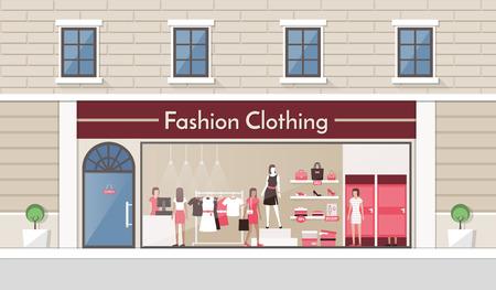 tienda de ropa: Exhibición de la tienda de ropa de moda y la bandera de interiores, las personas que compran productos y de trabajo empleado Vectores