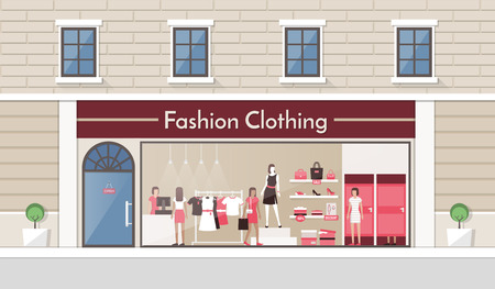 Fashion clothing store display and interior banner, people buying products and clerk working