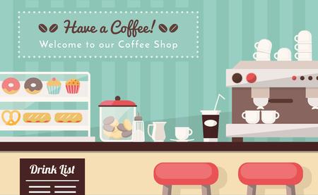 Cafetería y snack-bar bandera, barra de bar con aperitivos, taza de café, para llevar el café y máquina de café