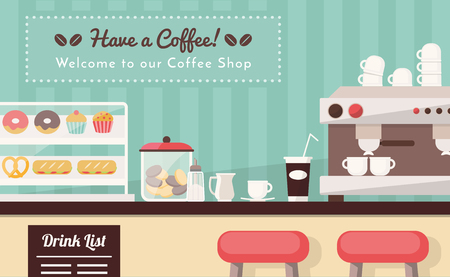 bar counter: Coffee shop and snack bar banner, bar counter with snacks, espresso cup, take away coffee and coffee machine