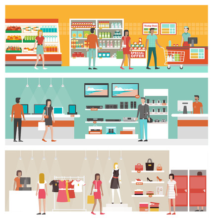 supermarkets: Supermarket, electronics store and clothing shop banner set with people shopping and buying products on shelves