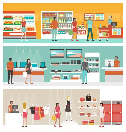 Supermercado, tienda de electrónica y tienda de ropa Conjunto de la bandera con la gente de compras y comprar productos en los estantes