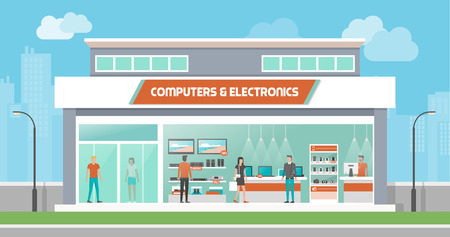 consumer electronics: Computers and electronics store building and interior, laptops mobile phones and television screens showcase and customers buying products