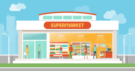 supermarkets: Supermarket building and interior with people buying products on shelves and shopping cart checkout