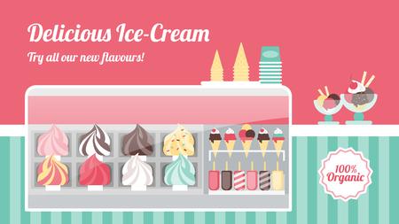 Ijssalon met lekkere kleurrijke ijsjes in metalen bakken, kegels, ijslolly's en ijscoupes in een vriezer met glazen display, zoet Italiaans eten en gezond eten concept Vector Illustratie