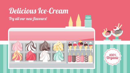 Ice cream shop with tasty colorful ice creams in metal trays, cones, popsicles and sundaes in a freezer with glass display, sweet italian food and healthy eating concept