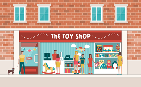 shop assistant: Toy shop display with customers and children, toys and videogames on shelves Illustration