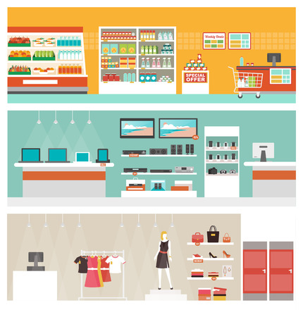 supermarket checkout: Supermarket, electronics store and clothing shop banner set, retail and commerce concept Illustration