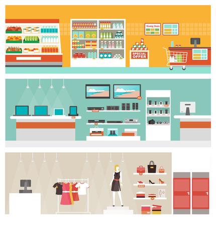 Supermercado, tienda de electrónica y ropa conjunto tienda de bandera, concepto de venta y el comercio