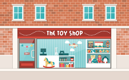 Toy shop display and interior with shelves and checkout Vectores