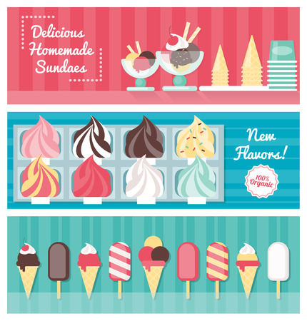 sundaes: Delicious ice cream colorful banner set with cones, popsicles, sundaes and ice cream trays, food retail concept