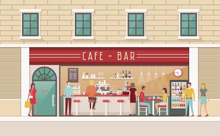mujer tomando cafe: Cafeter�a y snack-bar vista interior con encimera, sillas, mesa, clientes y barman
