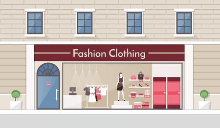 tienda de ropa: Exhibición de la tienda de ropa de moda y la bandera de interiores, ropa y accesorios en un estante y en los estantes