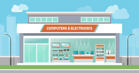 consumer electronics: Computers and electronics store building and interior, laptops mobile phones and television screens showcase and city skyline on background