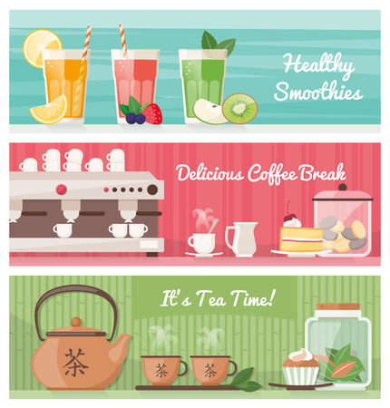Smoothies, coffee and tea, healthy drinks and tasty snacks banner set with text
