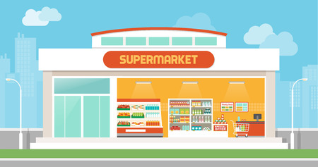 store display: Supermarket building and interior with products on shelves and shopping cart checkout, city skyline on background Illustration