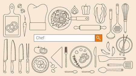 chef knife: Chef, restaurant and cooking banner with search bar, thin line objects and tools set