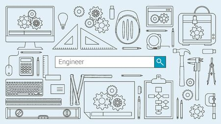 prototyping: Mechanical engineer banner with search bar, thin line objects and work tools on a desktop