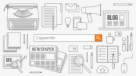 copywriter: Copywriter, journalist and blogger banner with search bar, thin line objects and work tools on a desktop
