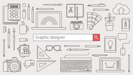 Grafisch ontwerper, illustrator en fotograaf banner met zoekbalk en dunne lijn hulpmiddelen en objecten op een bureaublad Stock Illustratie