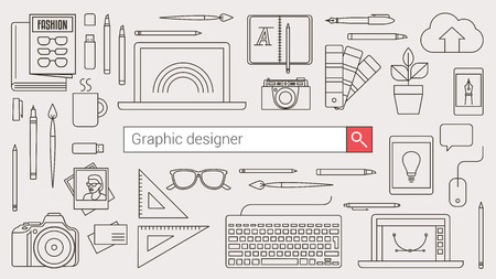 communication tools: Graphic designer, illustrator and photographer banner with search bar and thin line tools and objects on a desktop
