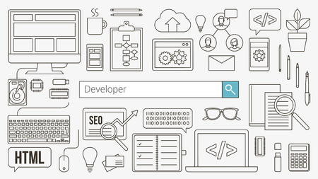 coder: Web and software developer banner with seacrh bar and thin line objects and work tools on a desk Illustration