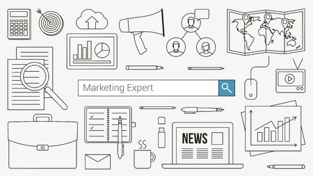 line work: Marketing and accounting expert banner with search bar, thin line objects and work tools on a desktop