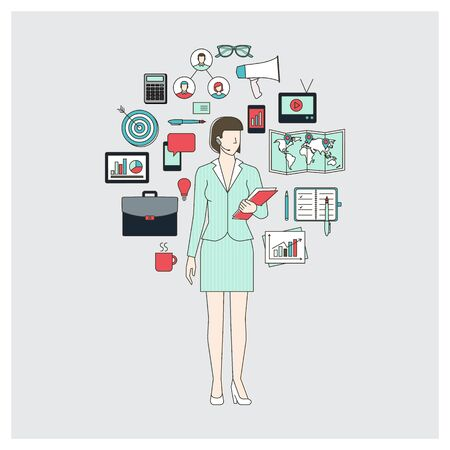 event planning: Business woman and marketing expert with working tools, thin line objects in a circle