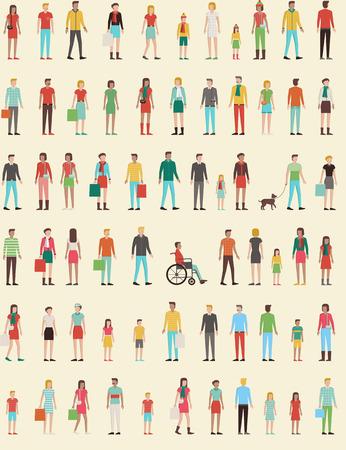 mujeres de espalda: Personas sin patrón con el conjunto de planos charachters, hombres, mujeres, niños