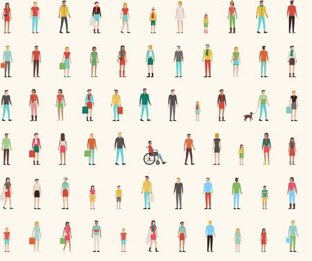 Personas sin patrón con el conjunto de planos charachters, hombres, mujeres, niños Ilustración de vector