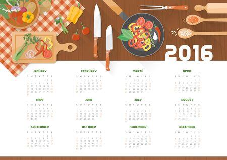cooking: Calendario creativo de cocina 2016 con utensilios y verduras de la cocina en una encimera de madera, vista desde arriba