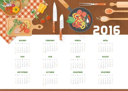 cooking recipe: Creative cooking calendar 2016 with kitchen utensils and vegetables on a wooden worktop, top view Illustration