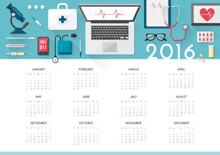 calendario: Calendario de Salud 2016 con el escritorio doctor y herramientas m�dicas vista superior, la medicina y el concepto de atenci�n m�dica