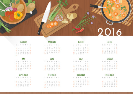 year: Vegetarian recipes calendar 2016, vegetables and kitchen utensils on wooden worktop, top view Illustration