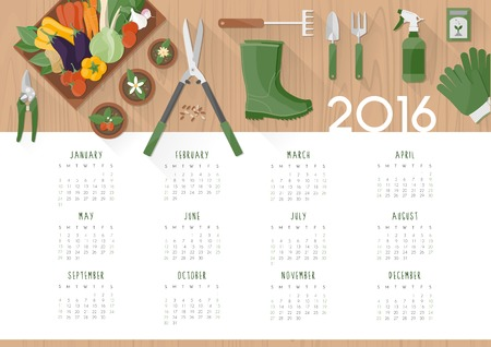meses del a�o: Calendario jardiner�a 2.016 Vectores