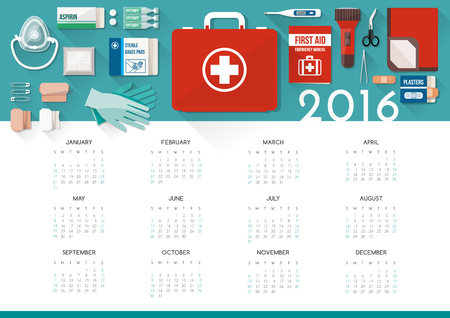 first aid kit: First aid kit calendar 2016 with medical supplies for emergencies, healthcare concept