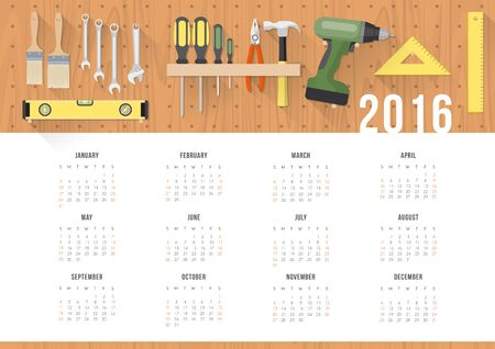 in the reconstruction: Diy and home renovation calendar 2016 with work hardware tools hanging on a pegboard Illustration