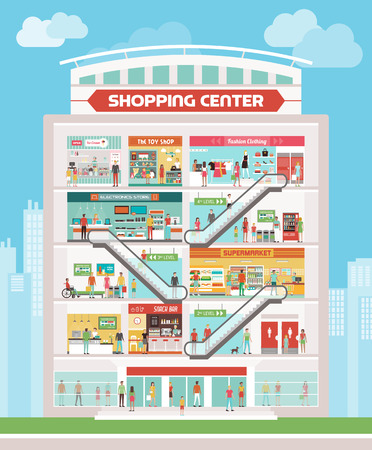 Shopping center building with bar, reception, supermarket, electronics store, clothing store, toy shop, ice cream shop and people walking and buying products 矢量图像